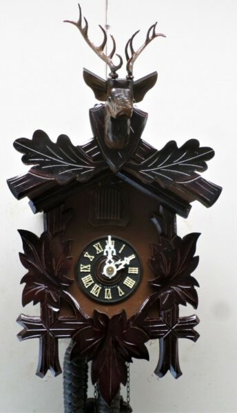 NICE OLD WORKING GERMAN BLACK FOREST HUNTER DEER HEAD HAND CARVED CUCKOO CLOCK