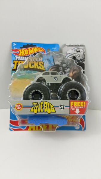 Hot Wheels Monster Truck The Love Bug Herbie Cast Metal Body Re Crushable Car