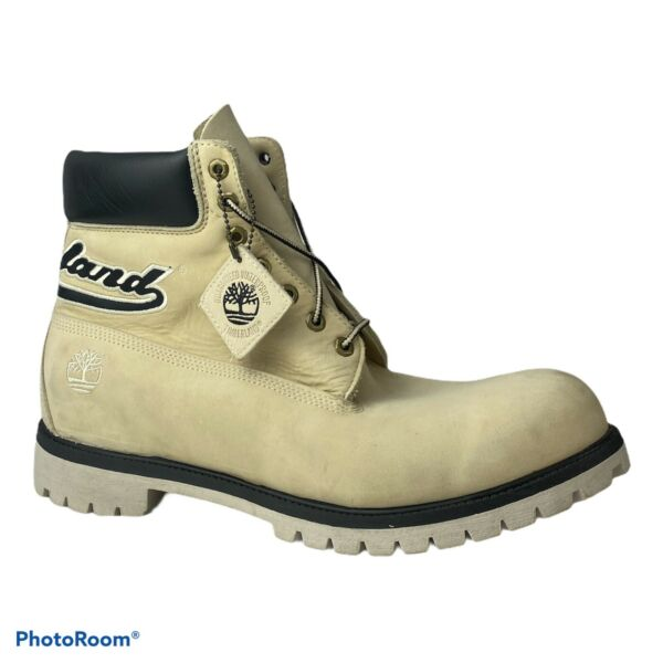 """Mens Timberland Boots 6"""" Cream Ivory Black Spell Out Logo Accent Mens Size 15 M $119.95"""