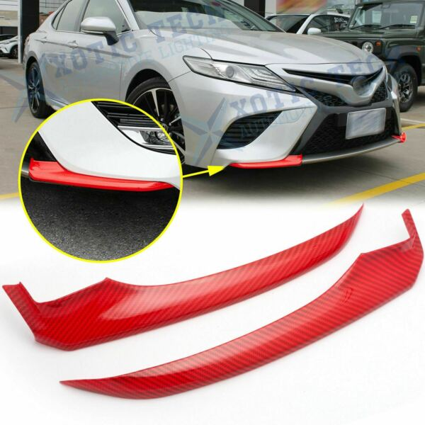 For Toyota Camry 2018 2019 Red Carbon Fiber Front Bumper Lip Corner Cover Trims $39.88