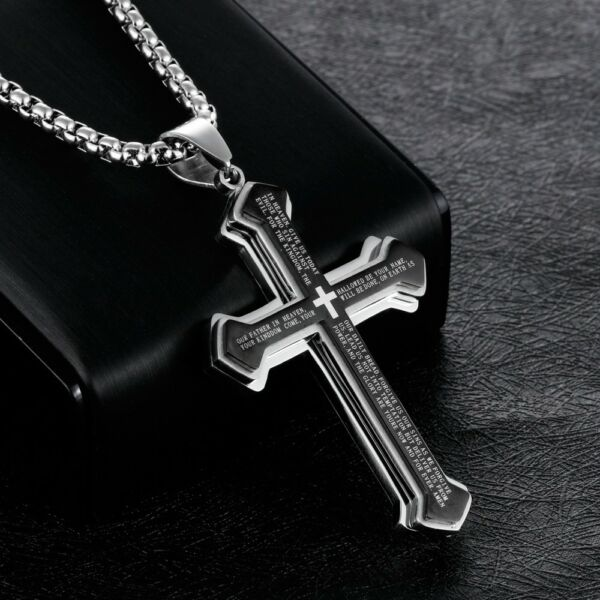 Men Cross Pendant Necklace Stainless Steel Multilayer Lord#x27;s Prayer Chain 24quot; $9.99