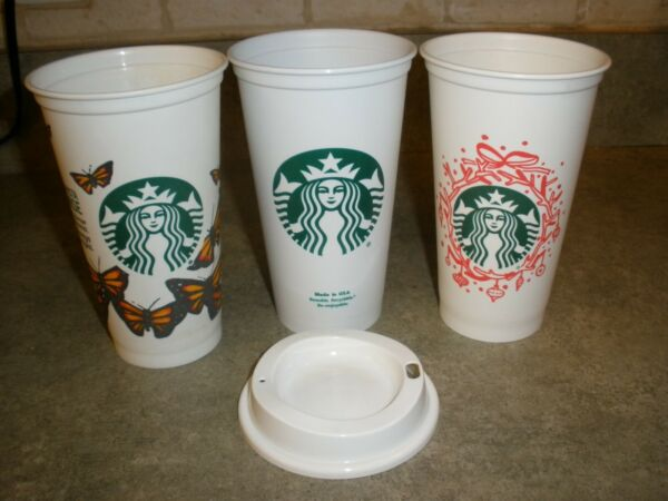 Lot of 3 Plastic Starbucks Cups with Lids Logo Christmas Logo Butterflies