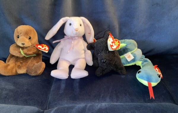 Ty Beanie Babies Lot of 4 1996 1997 Dog Snake Bunny Otter $14.08