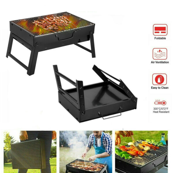BBQ Barbecue Grill Folding Portable Charcoal Stove Cooker Camping Garden Outdoor
