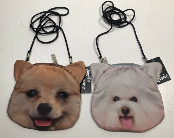 Lot of 2 girls puppy dog purses w arm chain amp; zip tops 2 side graphics NWT $19.99