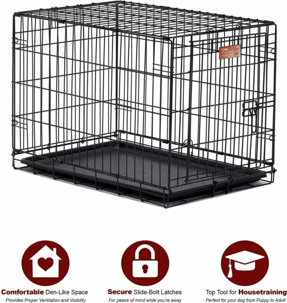 Dog Crate Single Door Folding Metal Dog Crates Fully Equipped $69.99
