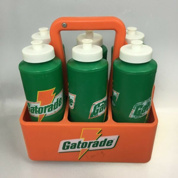 Lot Of 6 Vintage 90's Gatorade Water Bottles 32oz with Caddy Carrier Holder $39.99