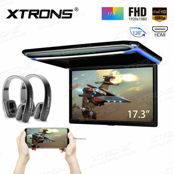17.3quot; LED Car Roof Ceiling Flip Down Overhead Monitor 1080P USB HDMI HD Headset $239.99