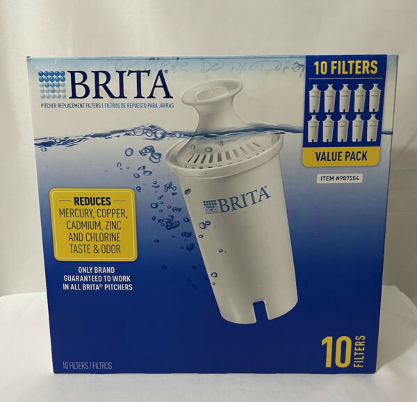 BRITA 10 Pack Water Filters Pitcher Replacement Water Filtration HAS 9 FILTERS