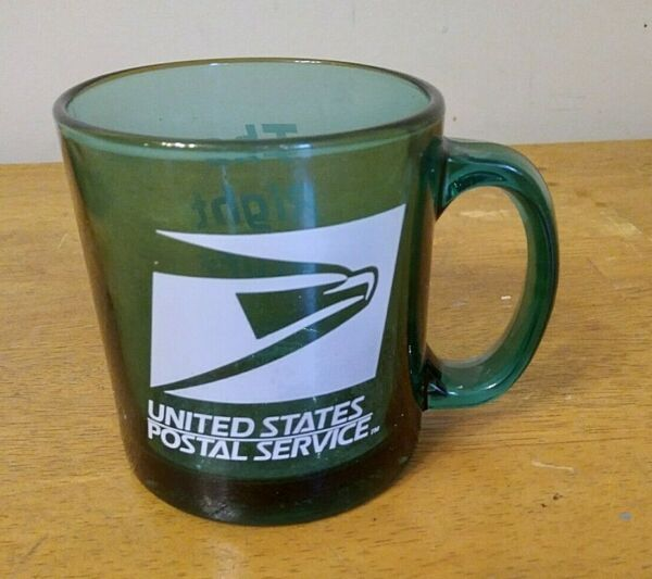 VINTAGE U.S.P.S POST OFFICE COFFEE GREEN CLEAR GLASS CUP MUG