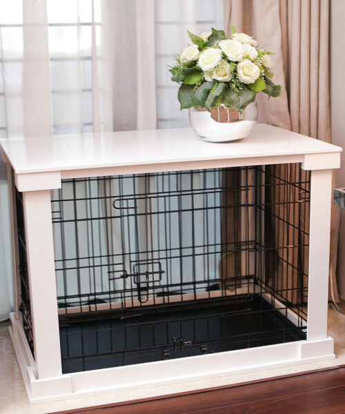 Indoor Dog Crate Wood Pet Kennel Wooden Side End Table Wire Cage Cover White $268.88