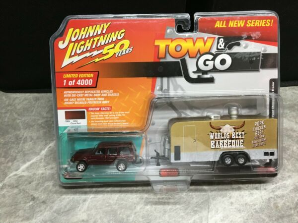 Johnny Lightning TOW amp; GO Red Jeep Cherokee with BBQ Trailer 2019