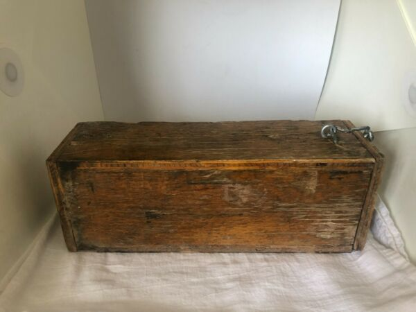 Vintage Primitive Wood Box with Latch amp; Hinge Hand Made Rustic Decor 13quot; Long