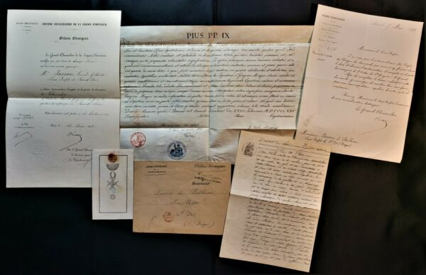 POPE PIUS IX COMPETE ARCHIVE FOR AWARD OF ST. GREGORY THE GREAT 5 DOCUMENTS 1875