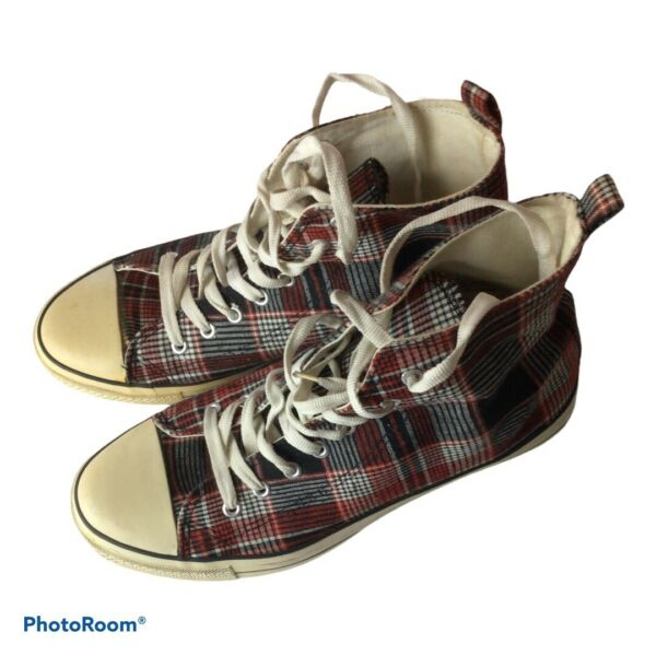 Plaid Rue Kicks Carbon High Tops Sneakers Shoes Size 10 11 $25.00