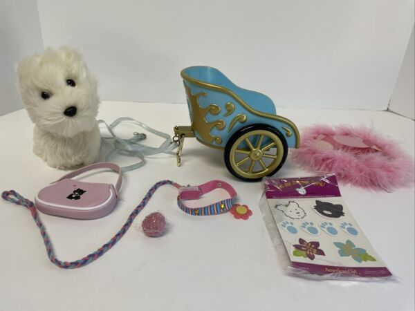American Girl Dog Coconut White Westie wCollar Leash Licorice Bed Ball Purse Lot $19.00