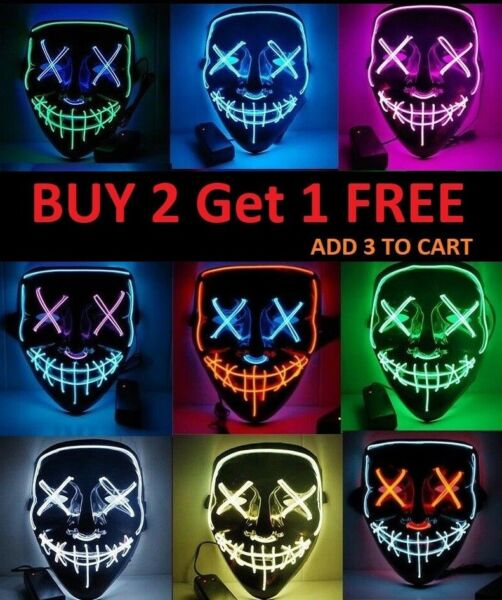 Halloween Clubbing Light Up LED Mask Costume Rave Cosplay Party Purge 3 Modes $8.79