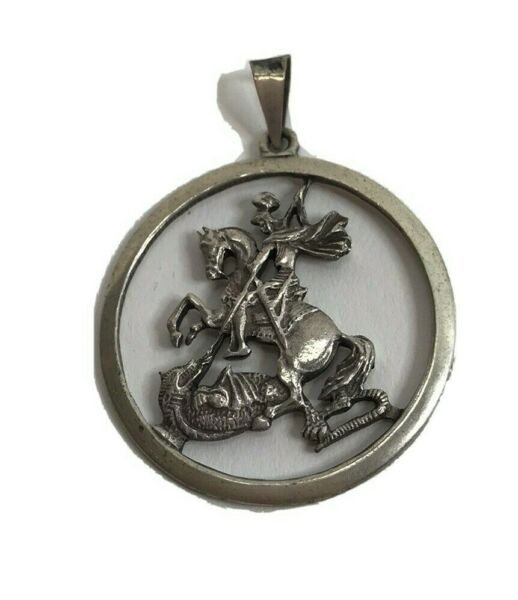VTG St. George Pendant Knight Slaying Dragon Soldiers Patron Saint Silver $79.95