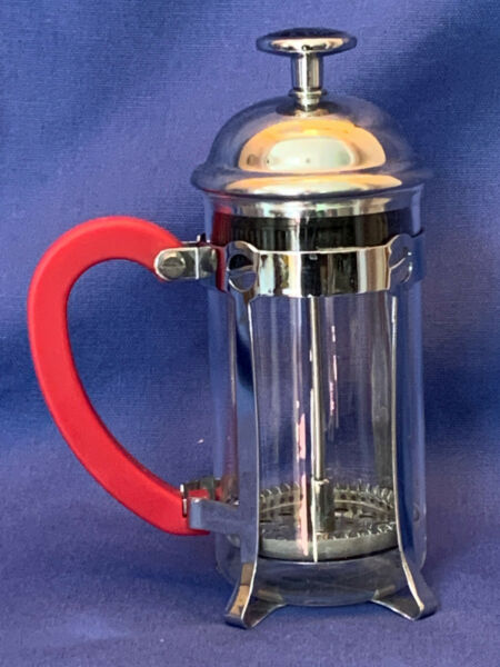 Starbucks Individual Mini French Press Stainless Red Handle Coffee Maker 12 Oz