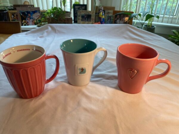 LOT OF 3 Starbucks Coffee Mugs 2006 Pink Ribbed Pink Heart amp; French Press