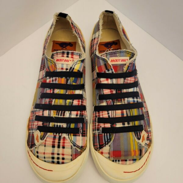 ROCKET DOG Size 9.5 M Sneakers Shoes Red Plaid Canvas Slip On Elastic Women#x27;s $16.50