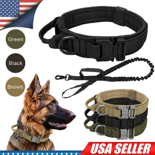 Tactical Military Dog Training Collar with Metal Buckle For Large Dog Heavy Duty $12.55