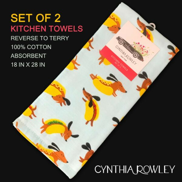 2 PK New CYNTHIA ROWLEY Terry Cotton Kitchen Towels Hot Dog Dogs Blue Multi $17.99
