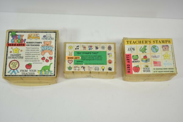 3 HERO ARTS TEACHER RUBBER STAMP SETS NEVER USED WOOD MOUNT TINY STAMPS $31.99