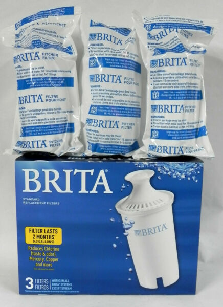 3 New Brita Pitcher Replacement Filters #OB03 Individually Sealed Pull Top Cap