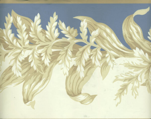 ARCHITECTURAL VICTORIAN LEAF SCROLL BLUE AND TAUPE WALLPAPER BORDER