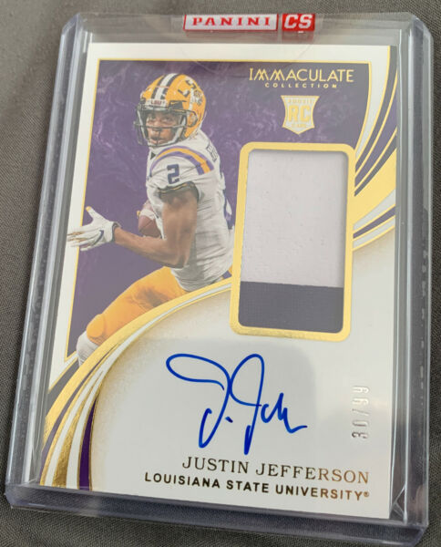2020 Immaculate Collegiate JUSTIN JEFFERSON RC Rookie 2 color Patch Auto RPA 99