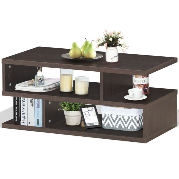 Coffee Table Rectangular Accent Cocktail Table w Storage Display Open Shelves