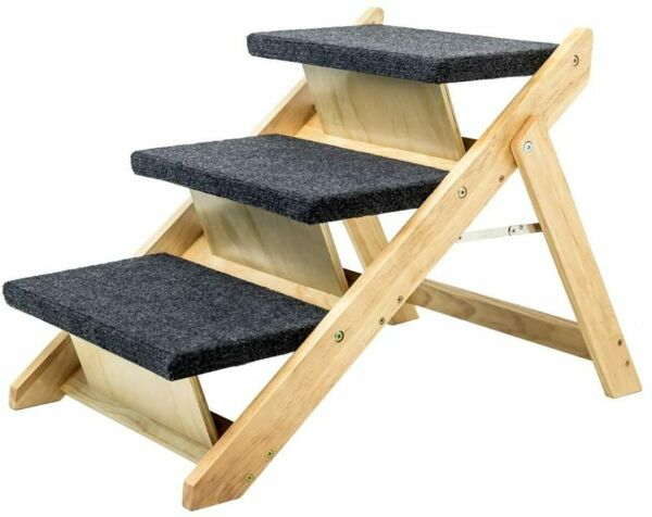 MEWANG Wood Pet Stairs Pet Steps 2 in 1 Foldable Dog Stairs amp; Ramp Perfect for $79.99