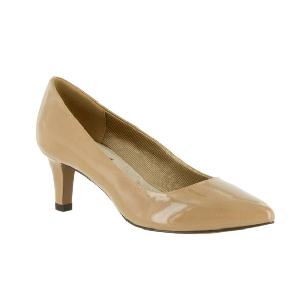 Easy Street Women Pointed Toe Pump Heels Pointe Size US 7.5M Nude Faux Patent $14.80