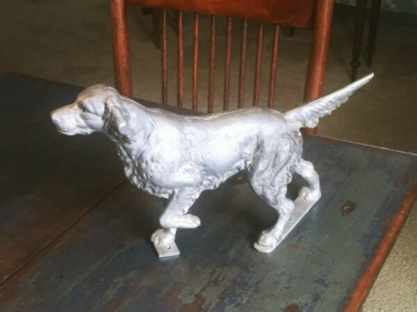 Vintage Large Metal Dog Statue HUNTING POINTER Figure Silver Paint $125.00