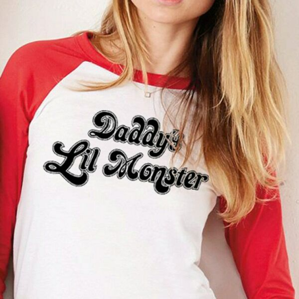 Harley Quinn Cosplay Shirt Daddy#x27;s Lil Monster Suicide Squad 3 4 Sleeve T $18.95