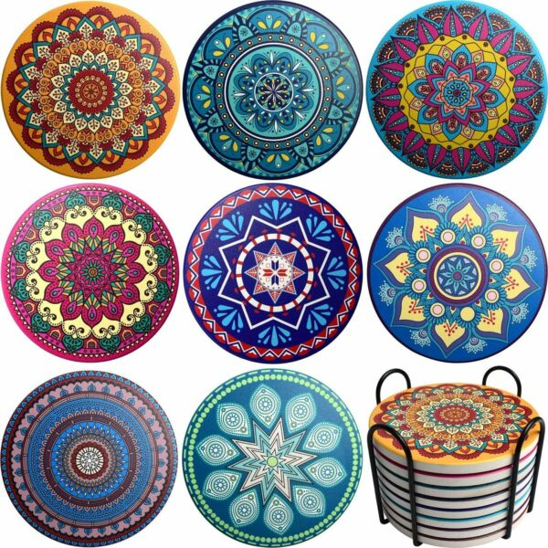 MYSIT Ceramic Coasters for Drinks Absorbent with Holder Set of 8 for Home Decor $13.99