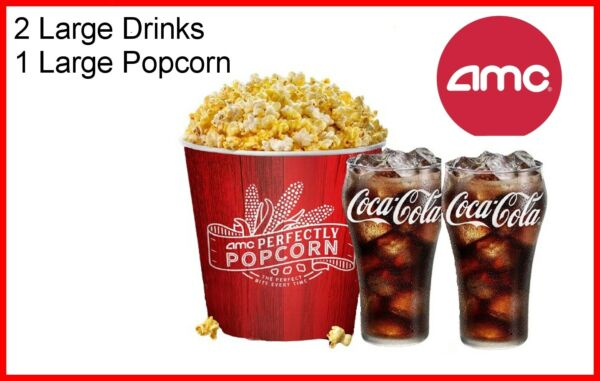 AMC Theaters 2 Large Drinks amp; Large Popcorn Fastest Delivery