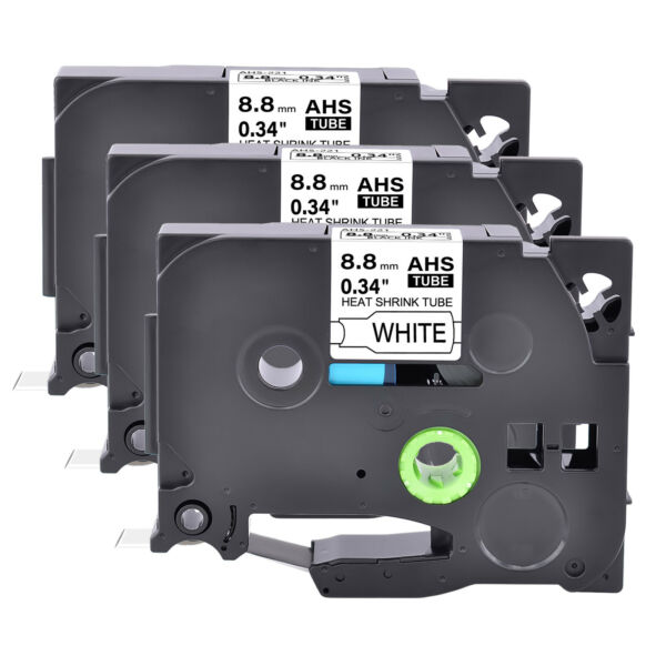 3 Heat Shrink Tube Tape Cartridge HSe221 Black on White For Brother P Touch 3 8quot; $21.98