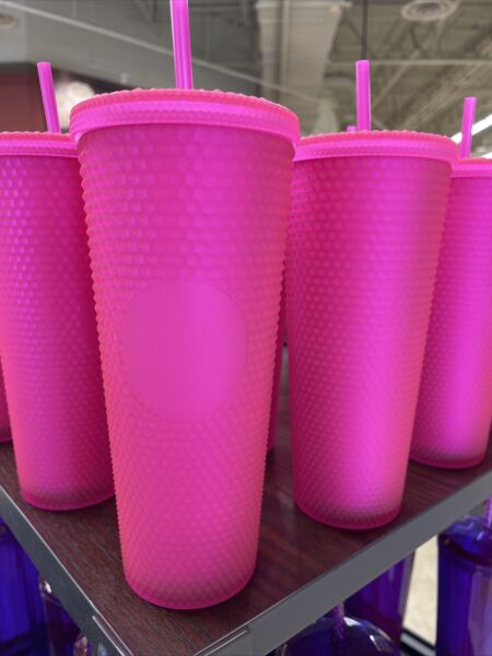 Starbucks Fall 2021 Neon Pink Soft Touch 24oz Cold Cup Tumbler