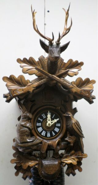 BREATHTAKING GERMAN BLACK FOREST DEEPLY CARVED WORKING 8 DAY HUNTER CUCKOO CLOCK