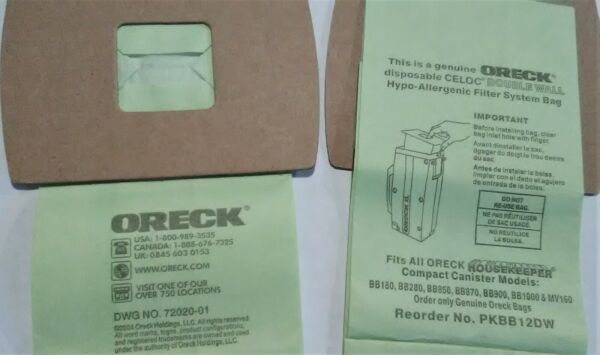ORECK GENUINE 2 disposable bags PKBB12DW CELOC Double Wall HOUSEKEEPER compact $3.95