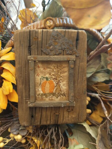 EARLY INSPIRED PRIMITIVE HAND STITCHED SAMPLER PUMPKIN CORN STALKS FALL LEAVES $69.00