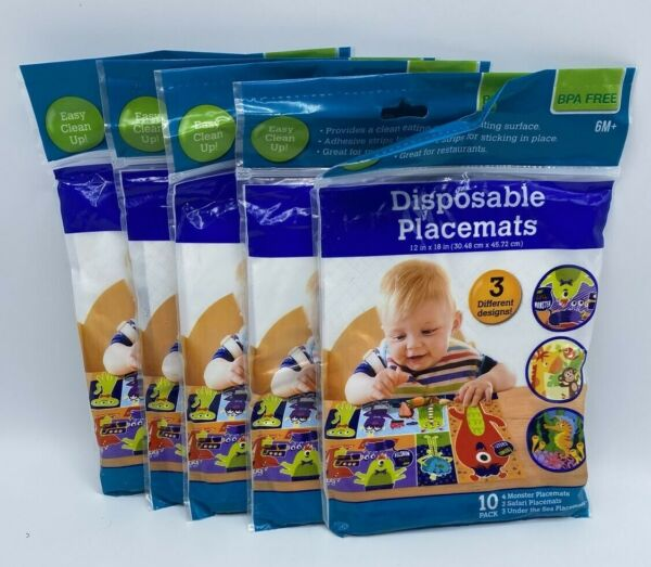 Adhesive Placemats BPA Free Disposable For Baby Toddler Children 5 Packages $14.99
