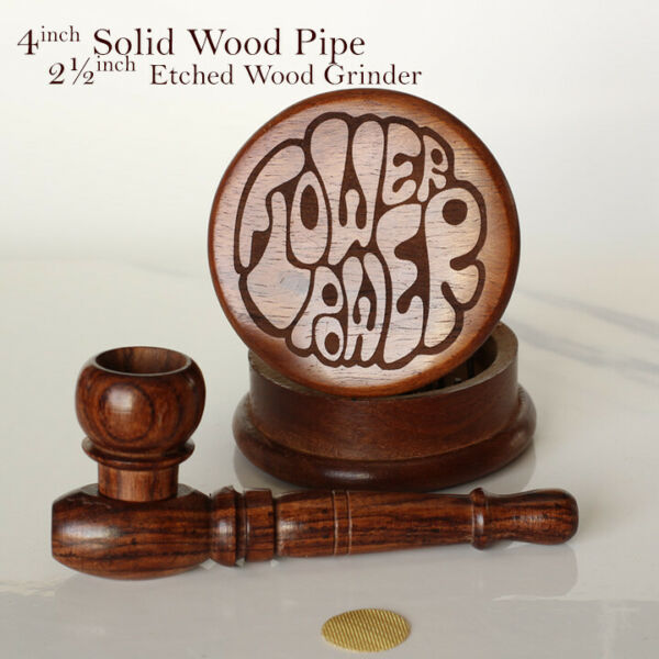 Diesel 4quot; Hand Crafted Premium Wood pipe Smoking Pipe amp; 2½quot; Etched Grinder FP $17.57