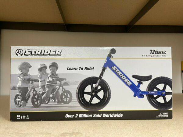 STRIDER CLASSIC 12quot; BALANCE BIKE FOR KIDS NO PEDAL LEARNING BIKE BLUE NEW $82.99