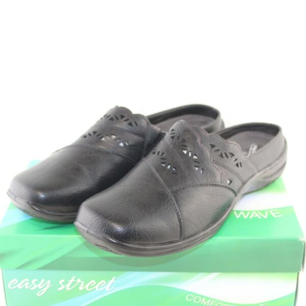 EASY STREET women#x27;s slip on mules shoe size 11 Extra Wide black faux leather NEW $35.99