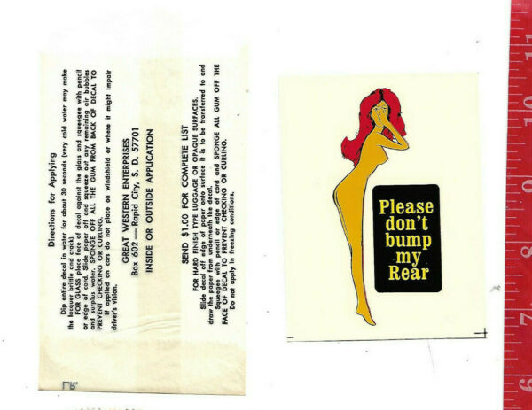 Vintage travel water decal Don#x27;t bump Pin Up Great Western Ent. Inc. $8.00
