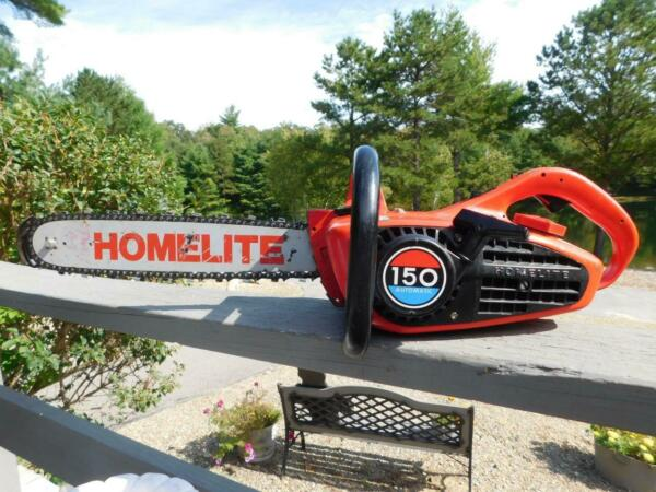 VINTAGE RUNNING HOMELITE 150 AUTOMATIC CHAINSAW 16quot; BAR HOME TOOL CHAINSAW $145.00