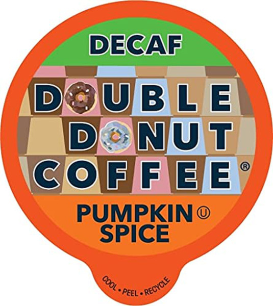 Double Donut Medium Roast Decaf Coffee Pods Pumpkin Spice Flavored for Keurig